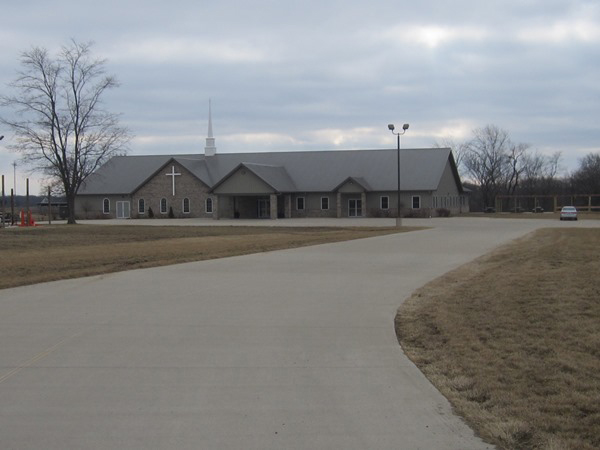LE Engineering Living Hope Community Church in Bartonville, Illinois - entrance and drainage ditch